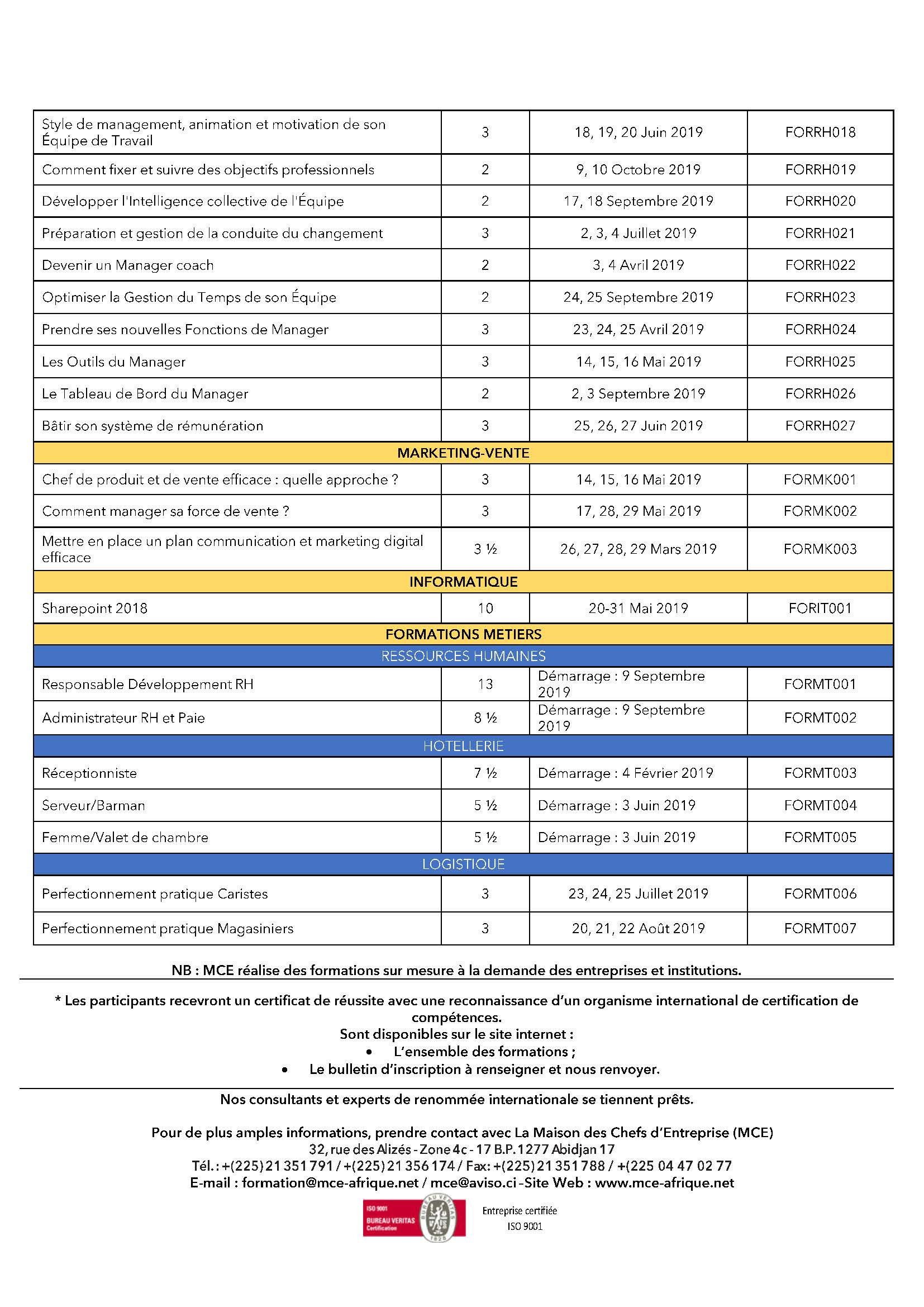 MCE Formation Catalogue-Formations -2019- Page 3